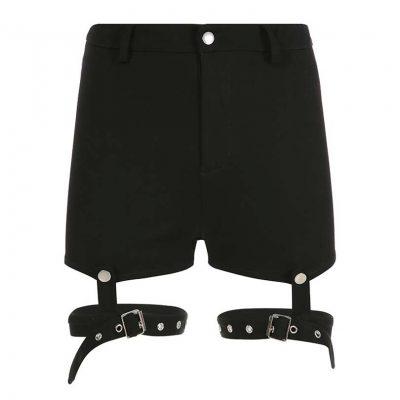 Calado arnés banda Liga pantalones cortos cintura alta mujeres verano negro Goth chicas pantalones cortos removibles muslo Correa Punk Shorts